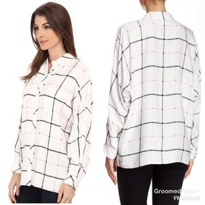 Two by Vince Camuto Plaid Grid Button Up Blouse